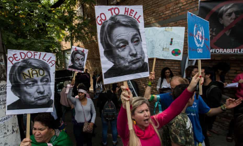 Ambushed … protests against the visit of gender theorist Judith Butler.