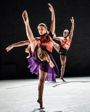 Jennifer Hayes, foreground, and Nahum McLean of Richard Alston Dance Company.