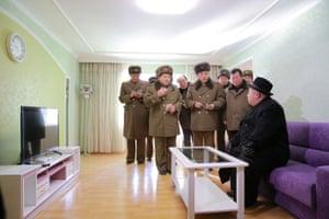Kim inspecting the construction site of Ryomyong Street, Pyongyang.