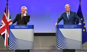 British Secretary of State for Exiting the European UnionDavid Davis and EU chief Brexit negotiator Michel Barnier address the media after the third round of Brexit talks.