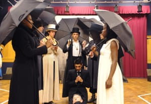 David Rubin (centre, Claudius) and Dharmesh Patel (kneeling, Hamlet) in an RSC production in 2010 directed by Tarrell Alvin McCraney. It was created as part of a Young People's Shakespeare project, which toured schools