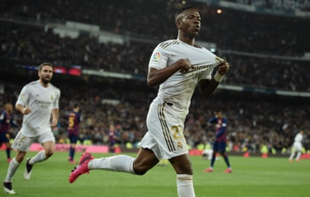 Vinicius Junior celebrates after scoring for Real Madrid against Barcelona at the Bernabéu earlier this year.