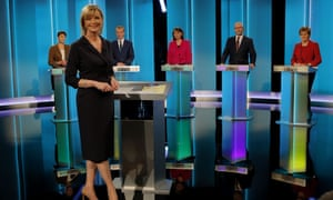 Presenter Julie Etchingham joins leader of the Green Party Caroline Lucas, leader of the Liberal Democrats Tim Farron, leader of Plaid Cymru Leanne Wood, leader of Ukip Paul Nuttall and leader of the SNP Nicola Sturgeon.
