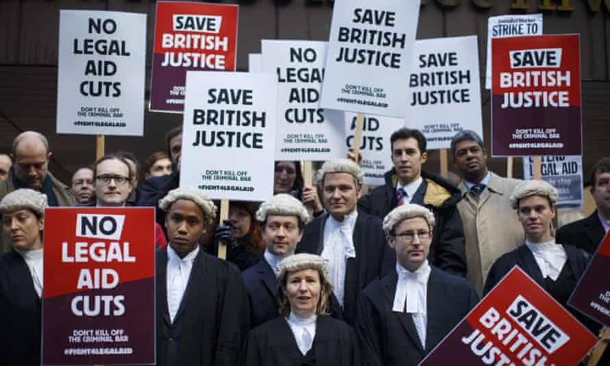 Lawyers protesting against cuts to legal aid fees in 2014