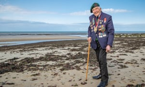 Harry Billinge in 2018 returning to Gold Beach where he landed on D-Day in 1944