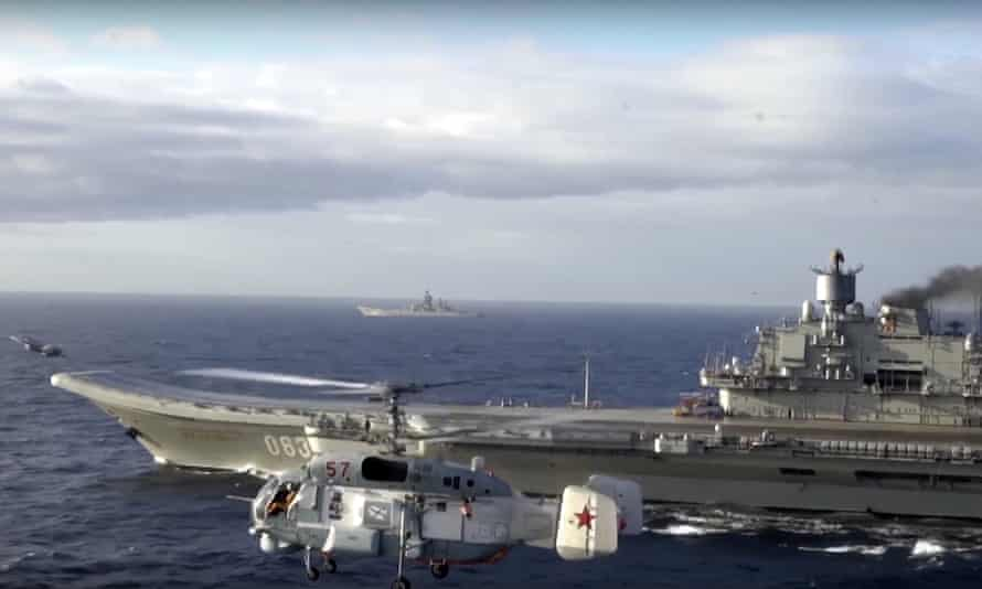 The Admiral Kuznetsov aircraft carrier pictured in the Mediterranean Sea this month.