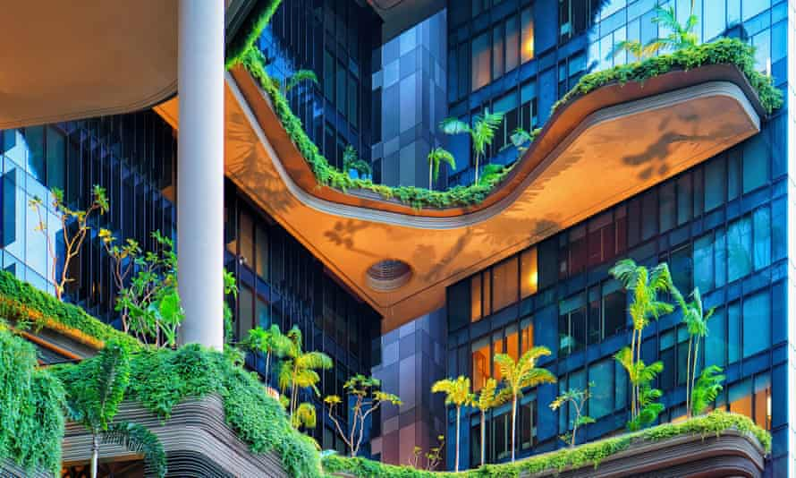 A green building balcony in Singapore.