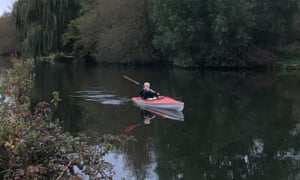 Clare Wakeham paddles her kayak in the river
