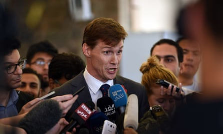 John Casson speaks to journalists at Sharm el-Sheikh following the crash of a Russian airplane.