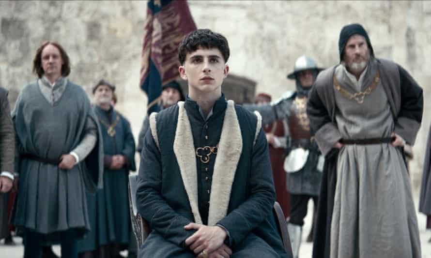 Timothée Chalamet as Prince Hal in The King.