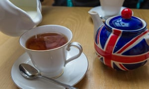 Cup of tea from a Union jack painted tea pot