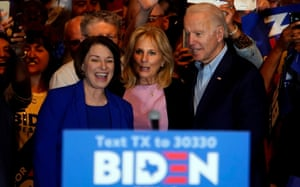 Amy Klobuchar endorsing Joe Biden last month, after his surge on Super Tuesday and her decision to drop out of the 2020 race for the Democratic nomination for the White House.