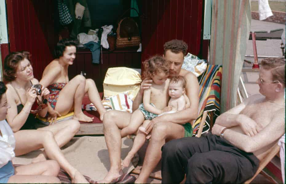 Alex Wickett's parents at their beach hut in Hove in the 1950s.