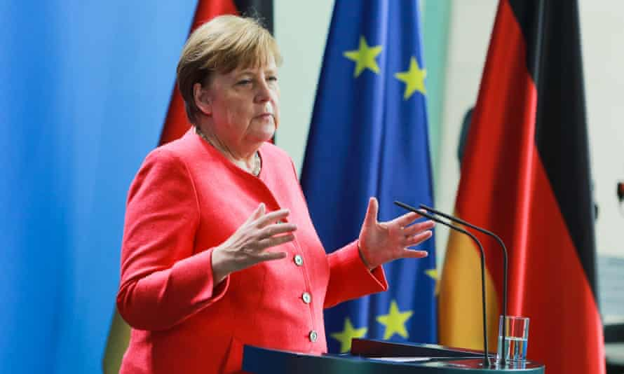 Merkel speaks to the media after the video conference with other EU leaders.