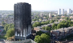 The blackened shell of Grenfell Tower in west London