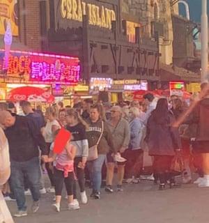 People on the promenade at Blackpool on Saturday.