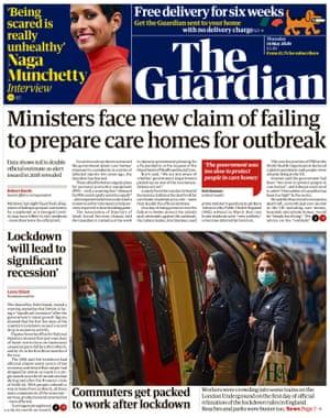 Première page du Guardian, jeudi 14 mai 2020