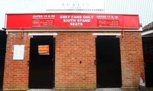 Away supporters' entrances at the Lamex Stadium in Stevenage, Hertfordshire.