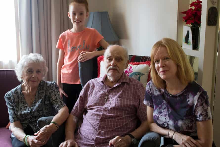 Peggie Bradley, 91, granddaughter Karis Town, 9, James Bradley, 92, and Sharon Bradley at their home in Croydon, Sydney.