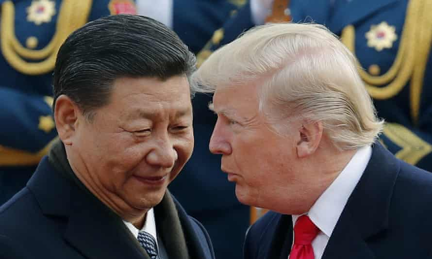 Donald Trump meets President Xi Jinping of China in Beijing in 2017.