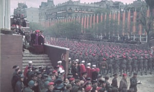 Soldiers march past the reviewing stand during the Nationalist victory parade in honour of General Franco, 19 May 1939.