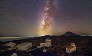 Teide observatory, Tenerife. The Milky Way above an observatory. For an even better view of the stars, the Canary islands have installed astronomer-friendly street lighting to help reduce light pollution