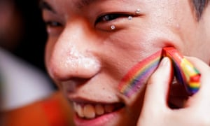 A man gets ready for a party at Shanghai Pride this month.