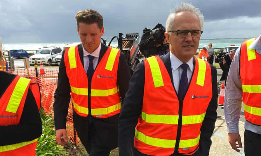Malcolm Turnbull with Andrew Hastie at an NBN construction site at Halls Head, Western Australia, during the Canning byelection.