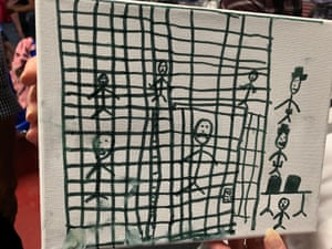 A drawing by children recently released depicting their time spent in US Customs and Border Protection (CBP) custody.