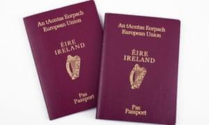 Two Irish passports, side by side