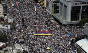 Protesters on a street in Venezuela