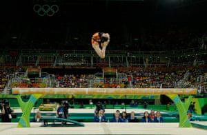 Fan Yilin of China during the women's beam apparatus final at the Rio Olympic Arena in Barra Olympic Park during day ten of the 2016 Olympics in Rio de Janiero.