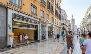 A shopping street in Malaga.