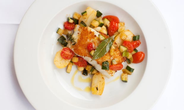 Sauté filet of cod, spring onions, zucchini, new potatoes, tomatoes.