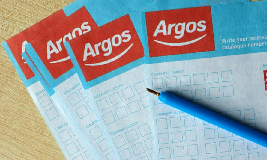 Argos reservation or catalogue number order forms with pen