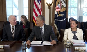 Rice with Obama and Biden in 2016.