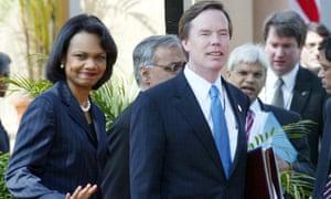Nicholas Burns with the Condoleezza Rice in 2006