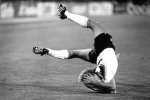West Germany's Jürgen Klinsmann takes a dive against Argentina during the World Cup Final on 8 July 1990