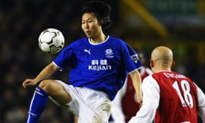 Li Tie in action for Everton in 2004.