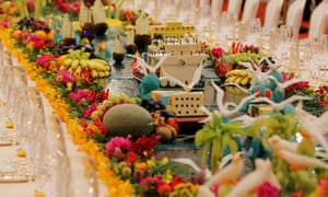 """Food sculptures at the banquet for the Belt and Road Forum at the Great Hall of the People in Beijing. China calls its new Silk Road """"a project of the century""""."""