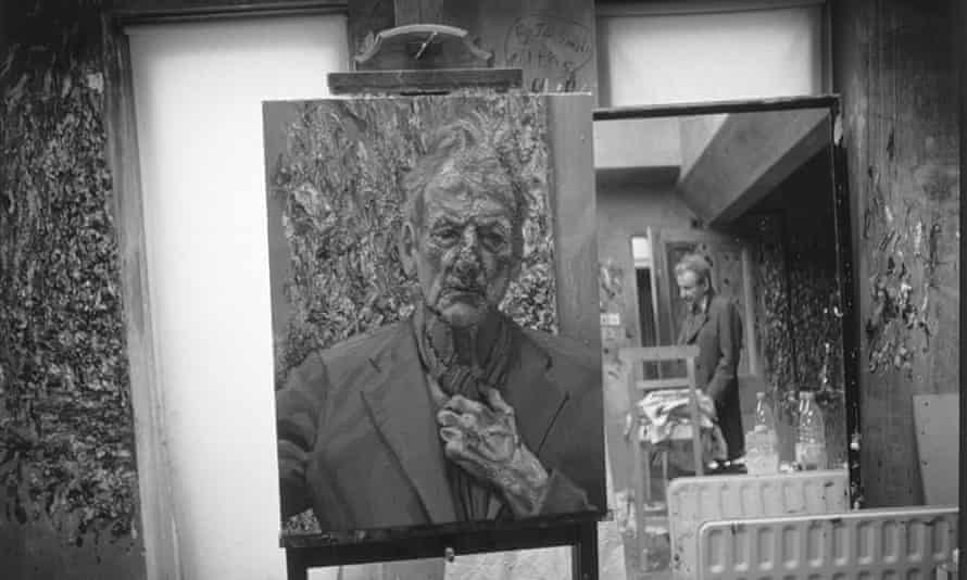 Freud's Self-portrait, Reflection (2002), with the artist in the background.