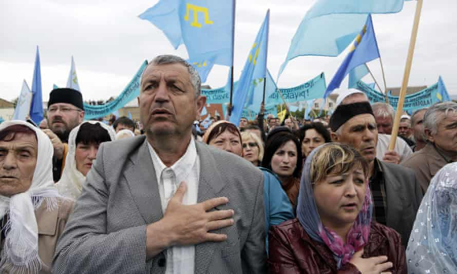 Crimean Tatars in Simferopol attend a memorial service marking the 70th anniversary of the deportation of Tatars from Crimea.
