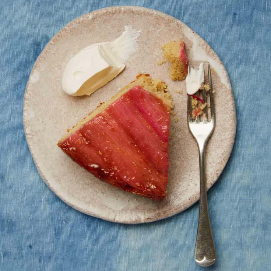Yotam Ottolenghi's rhubarb and yoghurt upside-down cake.