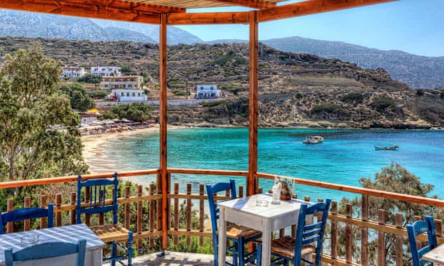 Taverna in Greece  overlooking beach