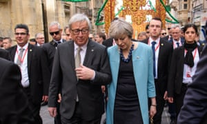 European commission president Jean-Claude Juncker and Theresa May during the EU summit in Malta.