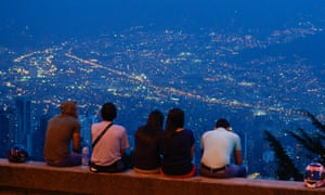 Medellin city at night.