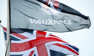 The Union Flag flying next to the Vauxhall flag at the Luton plant.