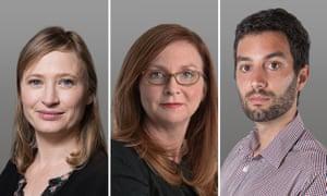 (L) Lisa Martin, (M) Katharine Murphy, (R) Paul Karp, Guardian Australia political journalists.