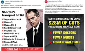 An Australian election ad from the Central Coast Liberals calling the Labor policy a 'car tax' (it isn't), and an ad from Queensland Labor about hospital cuts (it's complicated).
