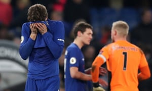 Marcos Alonso reacts at the final whistle after his late free-kick was saved by Kasper Schmeichel